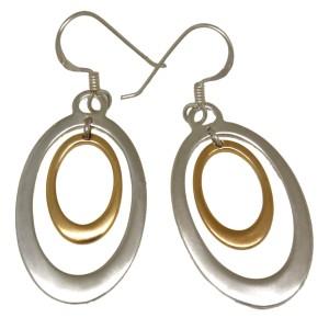 Ohrhänger oval aus 925 Silber mit teilweiser goldener PVD-Beschichtung