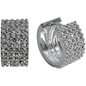 Ohrcreolen aus 925 Sterling Silber 5-reihig mit Kristallen besetzt