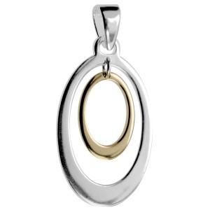 Kettenanhänger oval aus 925 Silber mit teilweiser goldener PVD-Beschichtung