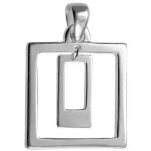 Kettenanhänger quadratisch aus poliertem 925 Silber