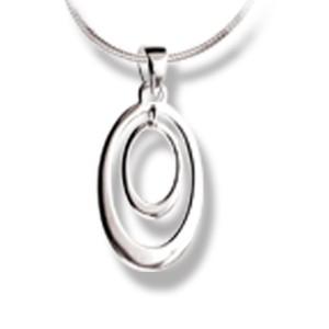 Kettenanhänger oval komplett aus poliertem 925 Silber