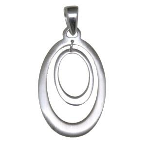 Kettenanhänger oval, poliertes & mattiertes Sterling Silber