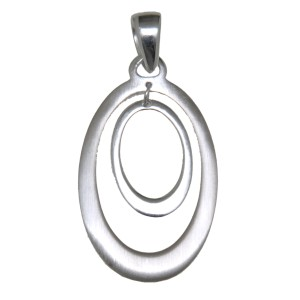 Kettenanhänger oval teilweise aus poliertem oder mattiertem 925 Silber