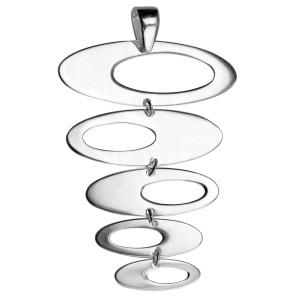 Kettenanhänger mit 5 untereinander hängenden Ovalen aus 925 Silber
