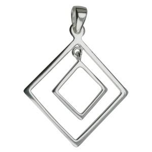 Kettenanhänger Sterling Silber Quadrat in Quadrat
