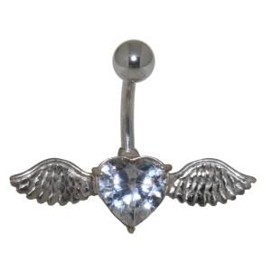 Bauchnabel Piercing mit 925  Silber Fliegendem Herz