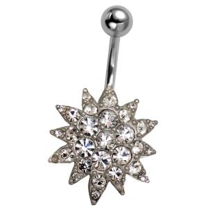 Bauchnabel Piercing mit Blüten Design und Swarovski