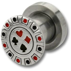 Ohrplug mit Poker Motiv 4-16mm