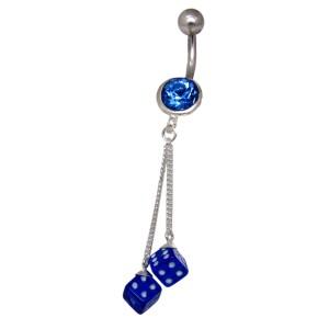 316L Chirurgenstahl Bauchnabel Piercing, 925 Silber mit 2 Würfel Design
