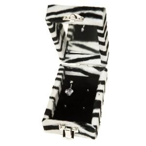 Schmuckbox für 4 Piercings im Zebra Look
