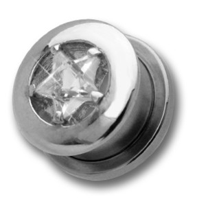 Ohrplug mit großem Stern Kristall 8-16mm