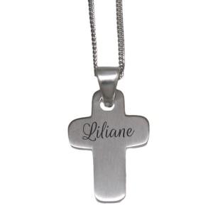 Silber Anhänger mit Gravur Kreuz