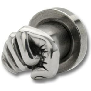 Plug aus 316L Chirurgenstahl,  mit 925 Sterling Silber Motiv  Faust, 4mm Durchmesser