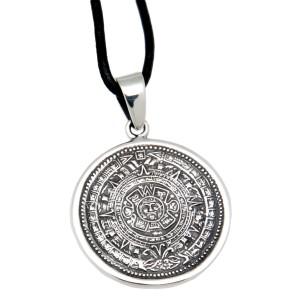 Silber Anhänger mit Gravur Aztekenkalender