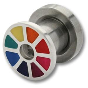 Ohrplug mit Regenbogen Design 4 und 6mm