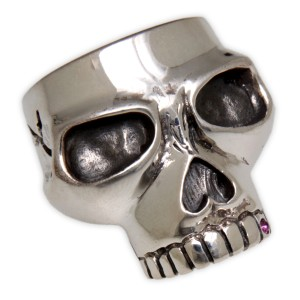 Schwerer Giftring Motiv Totenkopf aus 925 Sterling Silber, oxidiert
