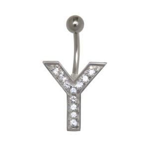 Bauchnabel Körperschmuck Piercing im ABC-Design mit Zirkonien - Buchstabe Y,1.6x6mm / 1.6x8mm / 1.6x10mm / 1.6x12mm / 1.6x14mm