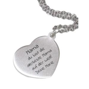 Herzförmiger Kettenanhänger aus 925 Silber mit Ihrer individuellen Gravur, 20x18mm