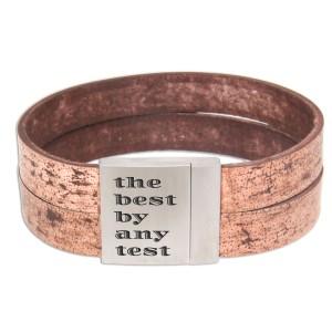 Echtlederarmband used look mit Gravur auf Magnet-Verschluss