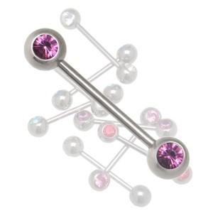 Barbell aus 316L Chirurgenstahl mit 2 180 Grad Kristallen in verschiedenen Längen