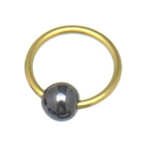 Klemmkugelring aus Titan mit Hematit-Kugel 1.2x14x5mm, yellow