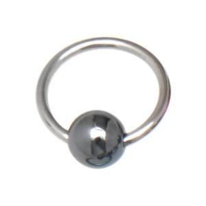 Klemmkugelring, farbig, aus Titan mit Hematitkugel 1.2x7x3mm, silver