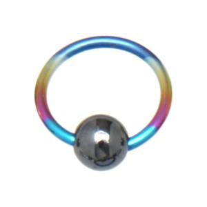 Klemmkugelring, farbig, aus Titan mit Hematitkugel 1.2x8x3mm, rainbow