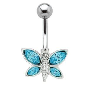 Bauchnabel Piercing mit Schmetterlings Design und Swarovski