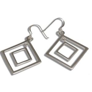 Ohrhänger quadratisch aus poliertem 925 Silber
