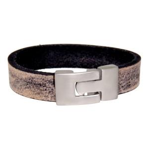 Echtlederarmband used look, schwarz und beige, Verschluss Edelstahl