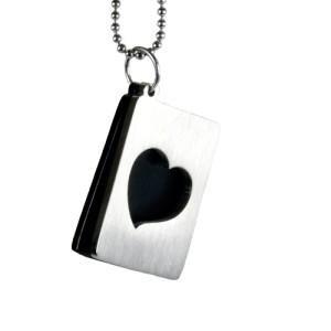 Zweiteiliger Herz Anhänger aus Edelstahl, 2.Platte schwarz