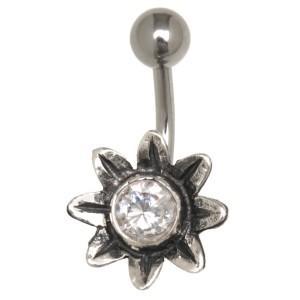 Bauchnabel Piercing mit Blüten Design - oder ist es eine Sonne?