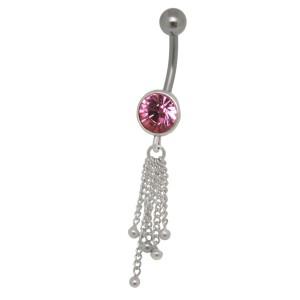 Bauchnabel Piercing mit Kettendesign und einem Kristall