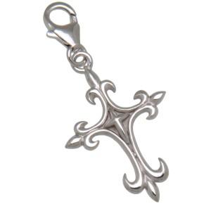 Charm-Anhänger Kreuz mit Fleur de Lys-Spitzen zum einhängen in ein Bettelarmband