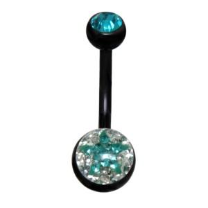 Crystallines Bauchnabel Körperschmuck Piercing STAR, juwellierte Schraub-Kugel