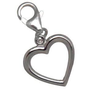 Charm-Anhänger Herz aus 925 Sterling Silber