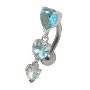 Bauchnabel Piercing 1.6x10mm mit Behang und Herz Kristallen, aqua