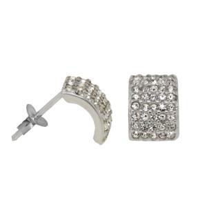 Ohrstecker 925 Silber 5-reihig klein mit Kristallen besetzt