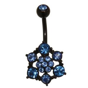 Bauchnabelpiercing BLACK STAR aus PVD beschichtetem Edelstahl mit Kristallsteinen 1.6x10mm