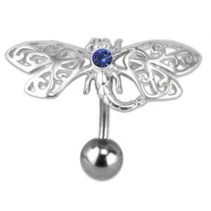 Bauchnabelpiercing aus einer 316L Chirurgenstahlbanane, Motiv fein ziselierter Schmetterling aus Silber