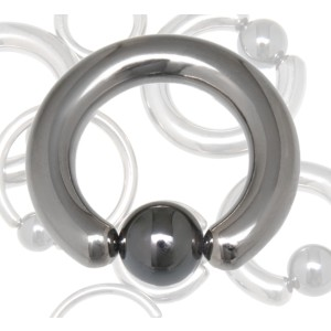 Titan BCR Klemmkugelring hoch glänzend mit Hematit-Kugel 4.0x20x8mm, silver