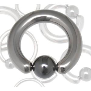 Titan BCR Klemmkugelring hoch glänzend mit Hematit-Kugel 4.0x24x6mm, silver
