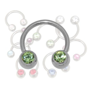Circular Barbell in 1.6mm Stärke mit zwei nach vorne gerichteten Kristallen