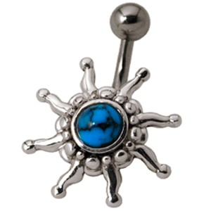 Bauchnabelpiercing American Indian 1.6x10mm mit Halbedelstein, sun coming up