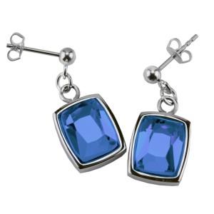 Ohrhänger mit rechteckigem blauen Kristall aus Edelstahl