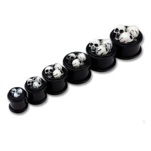 Silikon-Plug schwarz mit drei Totenköpfen in verschiedenen Stärken