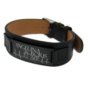 Armband, schwarzes Glattleder mit Ihrer Wunschgravur