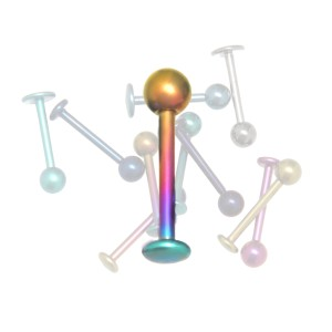 Micro-Labret Lippenstecker aus Titan 1.0 und 1.2mm Stärke in verschiedenen Längen und Farben