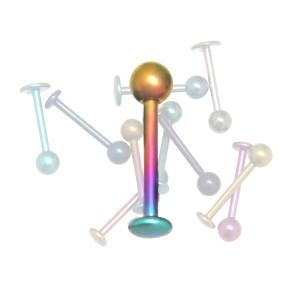 Labret aus Titan 1.2x10mm, regenbogenfarben