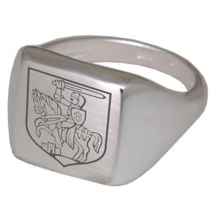 Siegelring aus 925 Sterling Silber, 4eckige mattierte Fläche mit Gravur